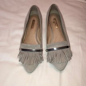 gray beige flats with fringe front detail